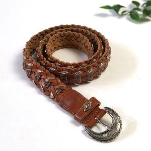 Vintage Leather Western Braided Belt